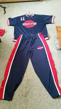 blue-and-red Houston Rockets Yao Ming 11 shirt and pants