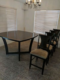 round black wooden table with four chairs dining set Peoria, 85382