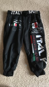 black, white, and red Italy Jaylvis Club jogger pants