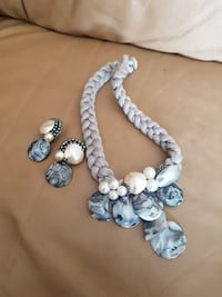 Grey seashell necklace and clip on earrings