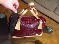maroon and beige patent leather handbag Toronto