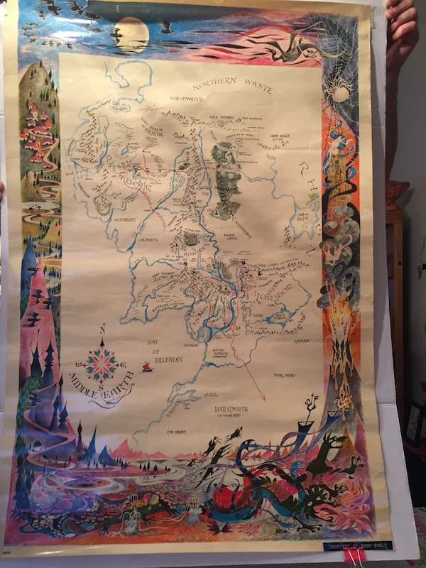 "Vintage Map of ""Middle Earth"" Lord of the Rings Poster"