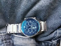 round blue chronograph watch with silver link bracelet Laurel Hill, 28351