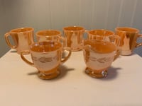 Vintage Fire King Ware mugs and sugar and creamer Made in USA Ridge, 11961