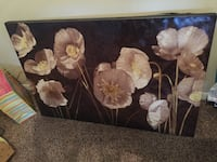 white Poppy flowers painting with grey frame
