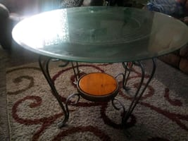 Glass top, rod iron Dining table
