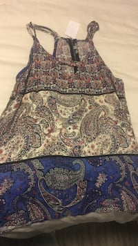 Women's white, gray, blue, and black paisley floral tank top