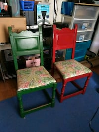 two green and red wooden chairs Hickory, 28601