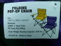 2 CAMPING FOLDING POP UP CHAIRS VIKINGS O/B/O Minneapolis, 55404