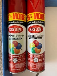 Color master paint+primer GLOSS BANNER RED  new 2 Cans -No Delivery