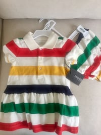 NEW WITH TAG Hudson's Bay classic stripe baby girl dress and bloomer set, size 18-24 months. Pick up in Stoney Creek Fiesta Mall area   Stoney Creek, L8G