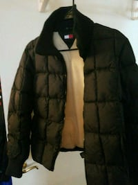 Womens quilted black zip-up jacket