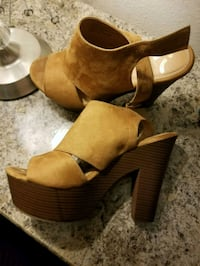 pair of brown suede open-toe wedge sandals Brownsville, 78526