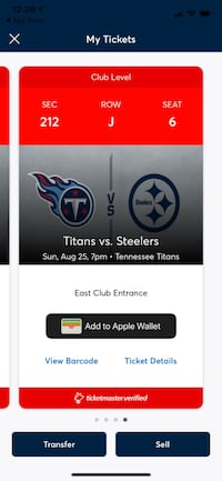 Titans vs Steelers 8-25-19 Nashville, 37135