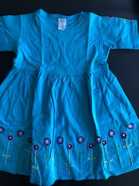 Blu Girls Blue Dress With Embroidery, Size 4T Montréal