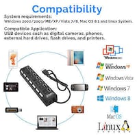 HOT SALE 7 Port USB Hub 2.0 Power Adapter Cable Splitter For PC Laptop With Power On/Off Switch High Westminster