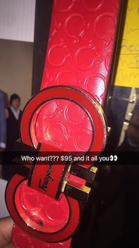 Red and black gucci leather belt Pflugerville, 78660