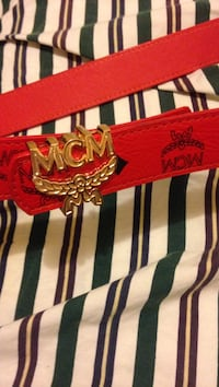 red MCM leather belt