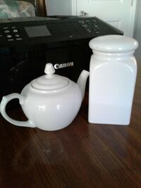 White teapot and canister  Hudson, 34667