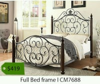 black metal bed frame with white and gray comforter set Los Angeles, 90040