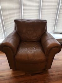 Nailhead Leather Couch and Chair  Wading River