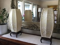 Chinese silk lamps. Beautiful light effect with the silk material shades Kr950 for both.
