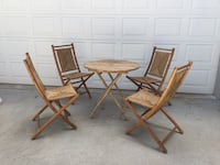 Bamboo - 4 folding chairs and table Alva, 33920