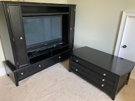 Solid wood entertainment center and coffee table