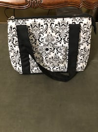 Black and white floral tote bag.