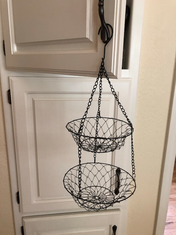 2 Tier Small Metal Wire Hanging Baskets In Black