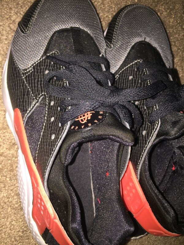 ead12b2462ba Used Black gray and red nike huarache run size 7 women s for sale in ...