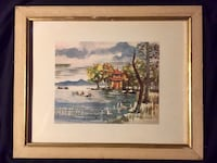 Antique watercolor print by Kingman in linen/gold frame Torrance, 90505