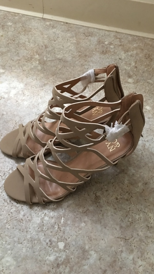 Women's brown leather strappy heeled sandals