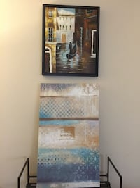 """Wall Art- Oil Painting Blue and Brown Hues, Black Frame 21""""X18"""". 13.00"""