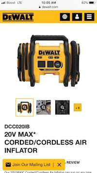 Dewalt 20v air inflator with battery new Clifton