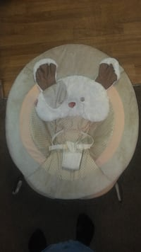 baby's white and gray Fisher-Price My Snuggapuppy bouncer