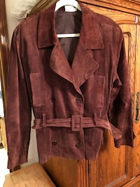 Double breasted brown suede jacket women's size large Moore, 73160