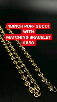 "10k real yellow gold 18"" puff Gucci chain with matching bracelet  Toronto, M1K 1N8"