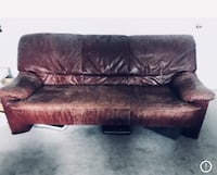 OBO 2 (pieces )Distressed Look:Couch+chair  BurgundyItalian Leather  Brown leather 2-seat sofa Edmonton, T6W 1A5