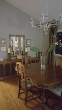 Solid 1943 Dining Table with 6 upholstered chairs.  1970's Stereo Cabinet CASTROVALLEY