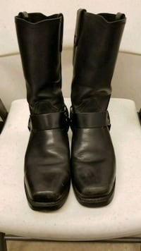 black leather knee-high harness boots 1213 mi
