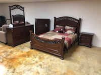brown wooden bed frame and brown wooden dresser 256 mi