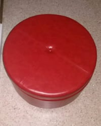 New  Red Leather Ottoman