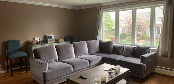 Used gray suede sofa set with coffee table for sale in Burlington ...
