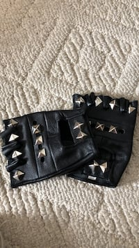 Black leather studded fingerless gloves Calgary, T3L 2B5