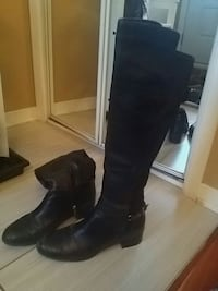 pair of black leather knee-high boots Montréal, H1E 6X1