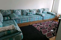 blue and white fabric sectional sofa Montréal, H2P 1K9