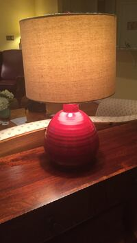 "Red and beige table lamp 20"" high"