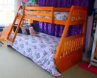 Twin over Full Bunk Bed Solid Wood with Mattresses Holland, 49423