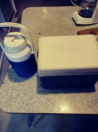 Matching Coleman drink thermos and small cooler